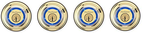 Kwikset Kevo 99250-201 Kevo 2nd Gen Bluetooth Touch-to-Open Smart Electronic Door Lock Deadbolt Featuring SmartKey Security, Polished Brass (Pack of 4)
