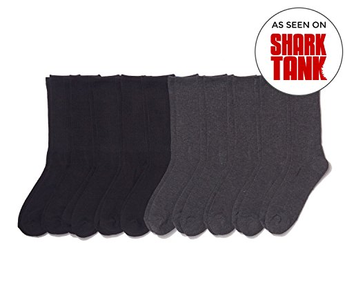 Basic Outfitters Men's Crew Athletic Socks Running CrossFit Durable Snug Black/Grey 10-Pack