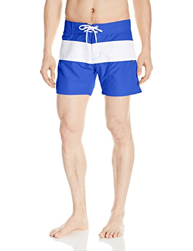 Sauvage Men's Fixed Waist Positano Italian Striped Swim Trunk, Royal, - Men's Swimwear Italian