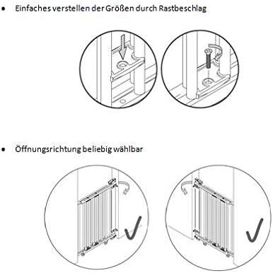 bois montage ext/érieur 58-93cm Geuther Montage interne  Barri/ère descalier extensible 2732+ 65,5-105cm approuv/é T/ÜV couleur: nature