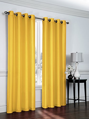 Cheap Regal Home Collections Artisan 54-Inch Wide X 84-Inch Long Faux Silk Window Panel with Grommets, Yellow