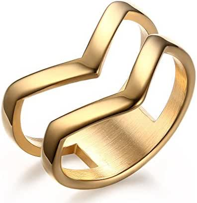Stainless Steel Double Chevron Ring,Gold