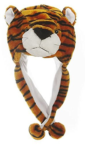 (Animal Head Super Soft Plush Childrens Hat - Tiger)