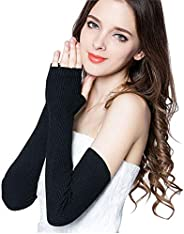 LerBen Women's Cashmere Warm Fingerless Gloves Winter Long Arm Wa