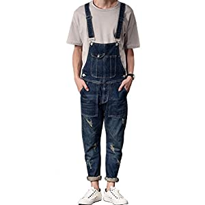 Denim Men's Casual Slim Bib Pocket Vintage Jumpsuits