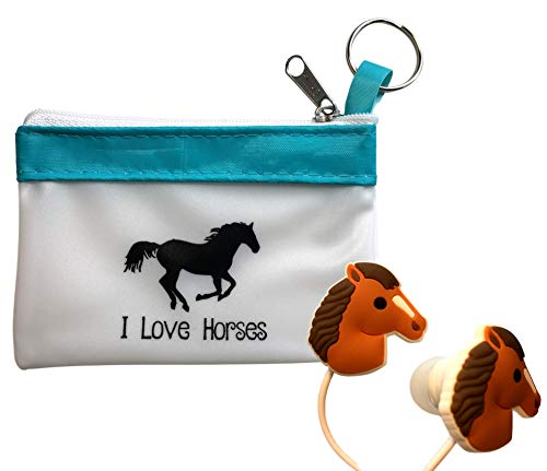 Funabaloo Fun Horse Headphones/Earbuds with Cute Carry Case-Great Horse Gift for Girls (Horse Headphones)
