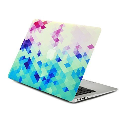 Unik Case Gradient Ombre Triangular Galore Digital Waterfall Pink and Blue Graphic Ultra Slim Light Weight Matte Rubberized Hard Case Cover for Macbook Air 13 13-Inch Model: A1369 and A1466