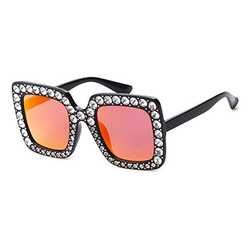 Oversize Square Crystal Sunglasses Women Luxury Brand Designer Shades - Luxury Brands Women's