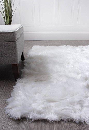 Super Area Rugs Soft Faux Fur Sheepskin Shag Silky Rug Baby Nursery Childrens Room Rug Ivory White, 2' x 3'