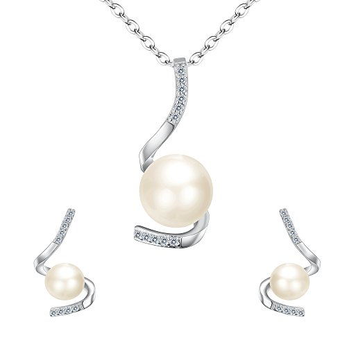 - EVER FAITH 925 Sterling Silver CZ AAA Freshwater Cultured Pearl Simple Spiral Necklace Earrings Set Clear