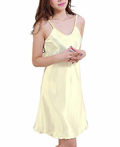 SexyTown Women's Satin Camisole Nightgown Classic Chemise Slip Sleepwear (Medium, -