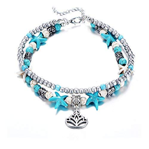 Lotus Starfish Turtle Anklets Multiple Layered Boho Gold Chain Anklet Heart Beach Rhinestone Turquoise Stone Charm Anklet (Lotus-1)