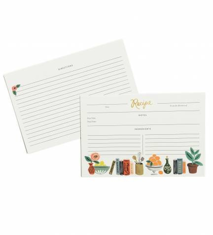 Rifle Paper Co. Kitchen Shelf 4'' x 6'' Recipe Cards -- Set of 12 Cards