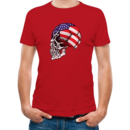 TeeStars - USA Flag Skull - World Soccer Championship 2015 Cup T-Shirt XX-Large Red