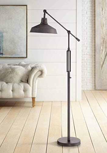 Turnbuckle Industrial Downbridge Floor Lamp LED Oil Rubbed Bronze Adjustable Metal Shade for Living Room Reading Bedroom – Franklin Iron Works