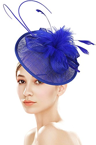 Z&X Sinamay Fascinator With Headbad Feather Floral Pillbox Hat For Cocktail Wedding Royal Blue -