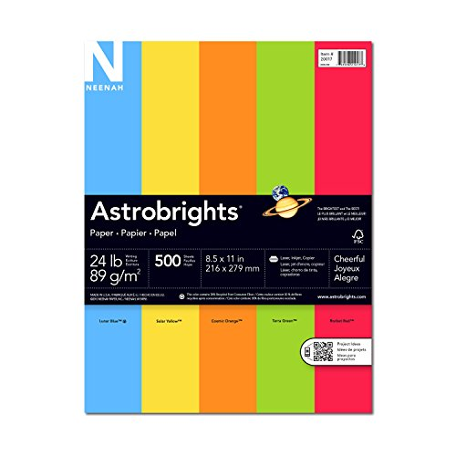 Wausau Astrobrights Heavy Duty Paper, 24 lb, 8.5 x 11 Inches, 5 Color Assortment, 500 Sheets (20017)