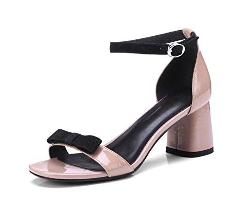Chunky Casual Mujer para Summer Zapatos Comfort de Heel Rosado Toe Sandals Open fqWCZ