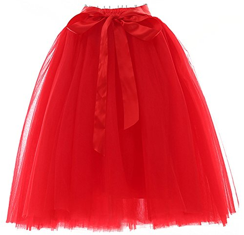 Facent Femmes 65cm 6 Couches Longueur Genou Tutu Tulle Jupons Rouge