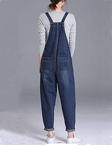 Grande Femmes Bib Couleur Taille Dcontracte Denim Unie Salopette Pantalon Jeans Bleu Vdual Jumpsuit q84g4