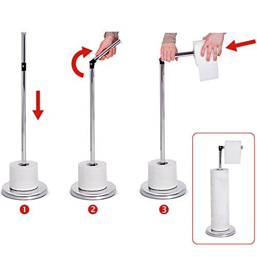 -[ Tatkraft Ingrid Toilet Roll Holder Stand Chromed Steel D19X55 cm Shiny  ]-