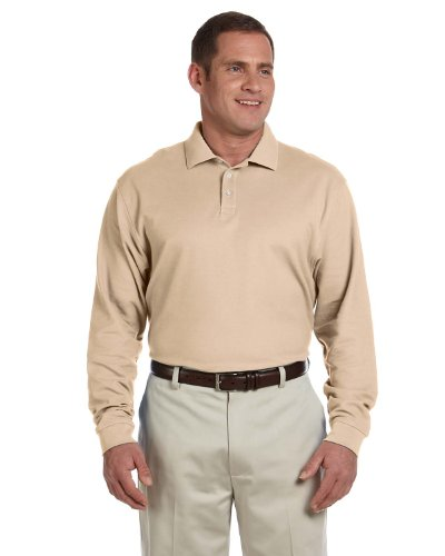 Devon & Jones Men's Pima Pique Long Sleeve Polo, XL, Stone - Mens Pima Pique Polo