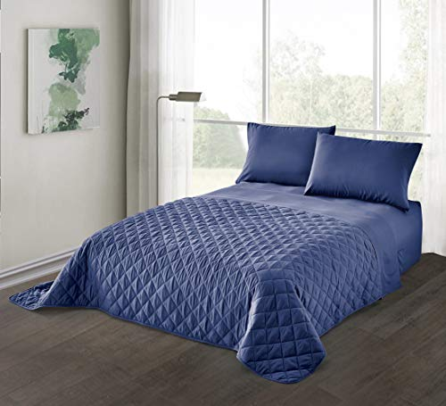 Guestroom Survival Kit Deluxe Air Mattress with Complete Bedding Set, Twin, Navy Deluxe Twin Bedding Set