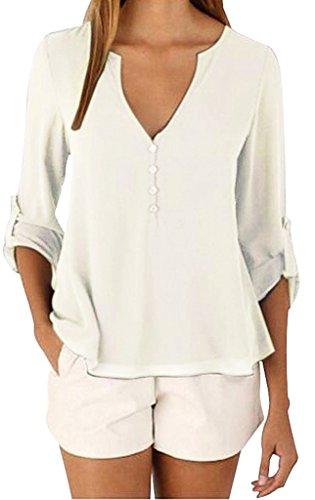 Sumtory-Womens-34-Cuffed-Sleeve-Chiffon-Blouse-Button-V-Neck-T-ShirtS-5XL