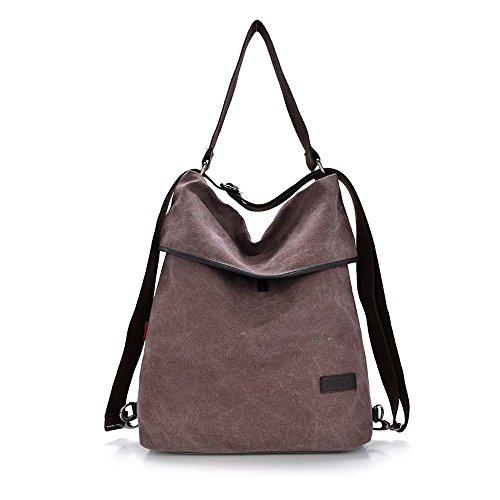 HingyuTing Vintage Canvas Damen Schultertasche Retro Rucksack Multifunktionale Tasche für Arbeit, Schule und Lässige täglich
