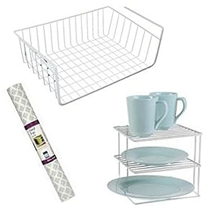3 Pcs  Kitchen Cabinet Organizer Set| 3 Tier Corner Plate Rack| Under Shelf