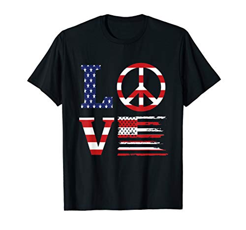 - Funny Patriotic 4th Of July Love American Flag Peace Sign T-Shirt