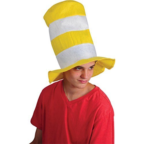 Yellow And White Striped Stove Pipe Felt Hat (1)