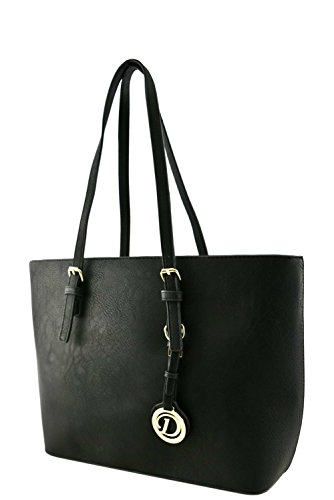 womens-designer-faux-leather-tote-bag-with-rear-zipper-pocket-va2002-black