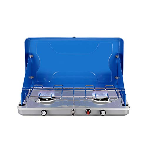 Camplux Gas Camping Stove JK-6320 Auto-Ignition Propane Stove 2 Burner Propane Stove with Propane Regulator Total 20,000 BTU