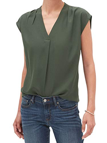 Banana Republic Womens Shoulder Pleated Tank Top Blouse Deep Forrest Green (Large)