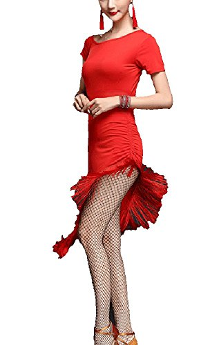 Whitewed Fringe Tango Jive Latin Dance Theater Casino Halloween Party Costumes Dress Red for $<!--$26.99-->