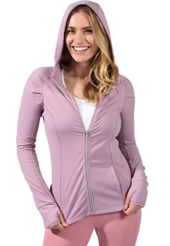 Yogalicious Womens Long Sleeve Full Zip Up Hoodie Jacket - Muted Orchid - XS (Hoody Flair Jackets)