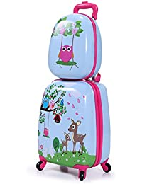 "Kids Carry On Luggage Set 12"" and 16"" Set of Two 2PCS Hard Shell Suitcase Backpack"