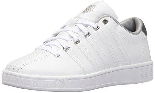 K-Swiss Women's Courtproii Met CMF Fashion Sneaker, White/White/Silver, 8 M US