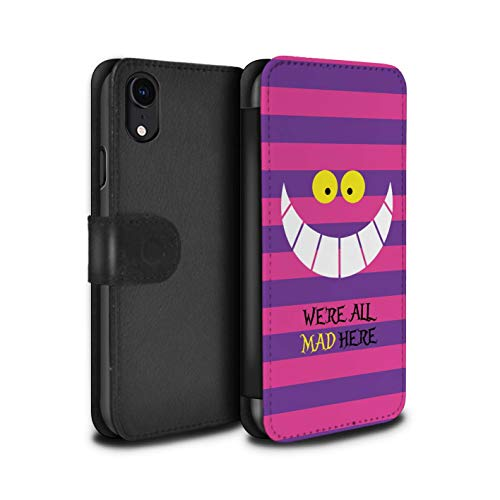 eSwish PU Leather Wallet Flip Case/Cover for Apple iPhone XR/Cheshire Cat/Mad Here Design/Fantasy Wonderland Art Collection