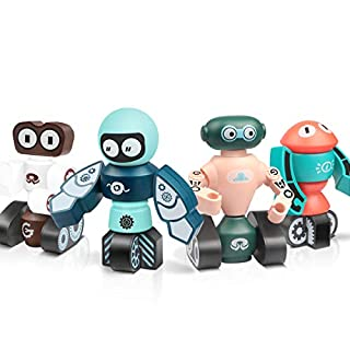 Lydaz Magnetic Robots Toy, 28 Pcs Magnetic Blocks Kit for Kids, Fine Motor Skill Toy, STEM Learning Playset Magnet Bots, Gift for Age 3 4 5 6 Years Old Preschool Toddlers Boys and Girls
