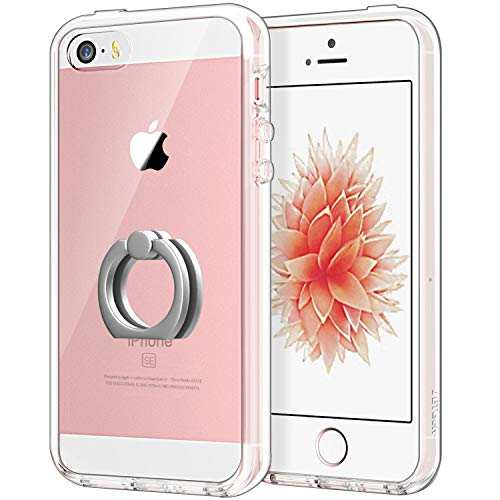 JETech Case for Apple iPhone SE, iPhone 5s and iPhone 5, Ring Holder Kickstand, Shock-Absorption Bumper Cover, HD Clear
