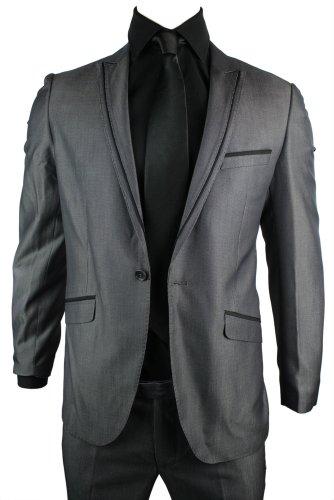 Mens Slim Fit Suit Grey Shiny 1 Button Stitch Black Trim Work