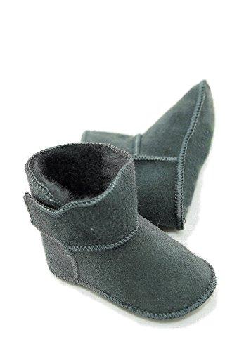 Lammfellschuhe Babyschuhe , Stiefel , Klettverschluss , Echt Fell Schuhe Krabeln, hausschuhe Baby ADB-0001 Madchen, Jungen , Leder Grau