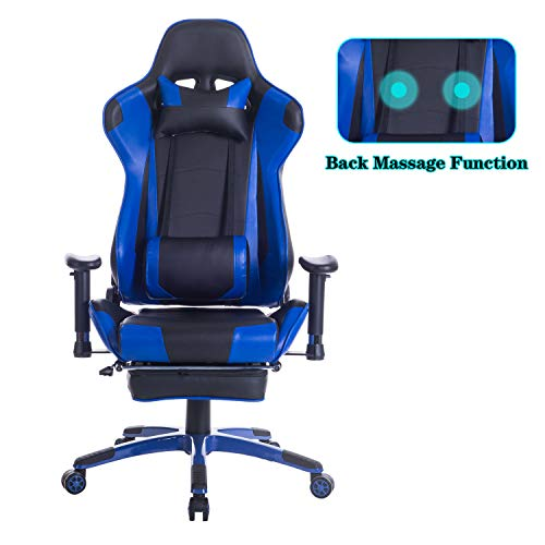 HEALGEN Back Massage Gaming Chair with Footrest,PC Computer Video Game Racing Gamer Chair High Back Reclining Executive Ergonomic Office Desk Chair with Headrest Lumbar Support Cushion GM002(Blue)