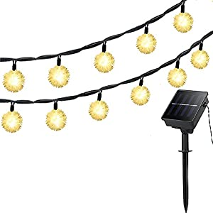 Lellel 3rd Gen Super Bright Solar Outdoor LED String Lights, Waterproof Weatherproof for Yard Patio Garden Tree Party Wedding Decoration, 20Ft Snow Ball Warm White