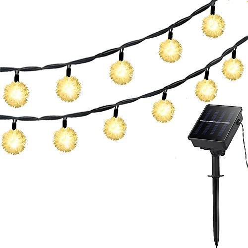 Lellel 3rd Gen Super Bright Solar Outdoor LED String Lights, Waterproof Weatherproof for Yard Patio Garden Tree Party Wedding Decoration, 21Ft 1in Dia Snow Ball Warm White With 8 Working Mode