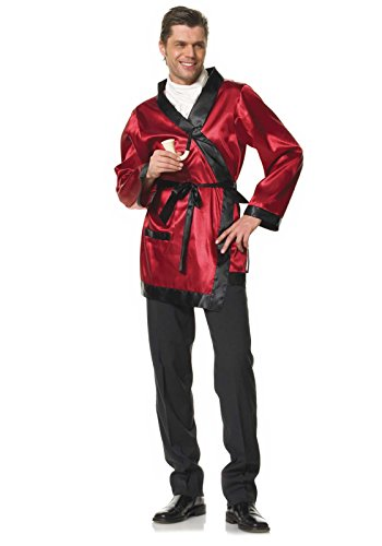 Hugh Hefner Halloween Costumes (Leg Avenue Men's 2 Piece Bachelor Cigarette Smoke Jacket And Pipe Costume, Red/Black, One Size)