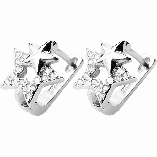 Gemini CZ Star Small Hoop Earrings for Women Girls 925 Sterling Silver Constellation Dangle Stud Pierce Earrings Crystal Diamond Interlocking Stars U Shape Huggie Charms Jewelry Birthday Wedding Gift ()