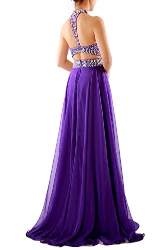 MACloth Women Halter High Neck Sleeveless Long Prom Party Dress Evening Gown Cielo azul